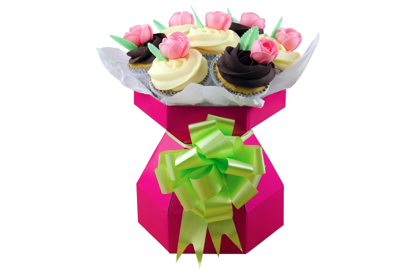 Cupcake Bouquet Box HOT PINK